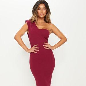 Prettylittlething Burgundy One Shoulder Midi Dress